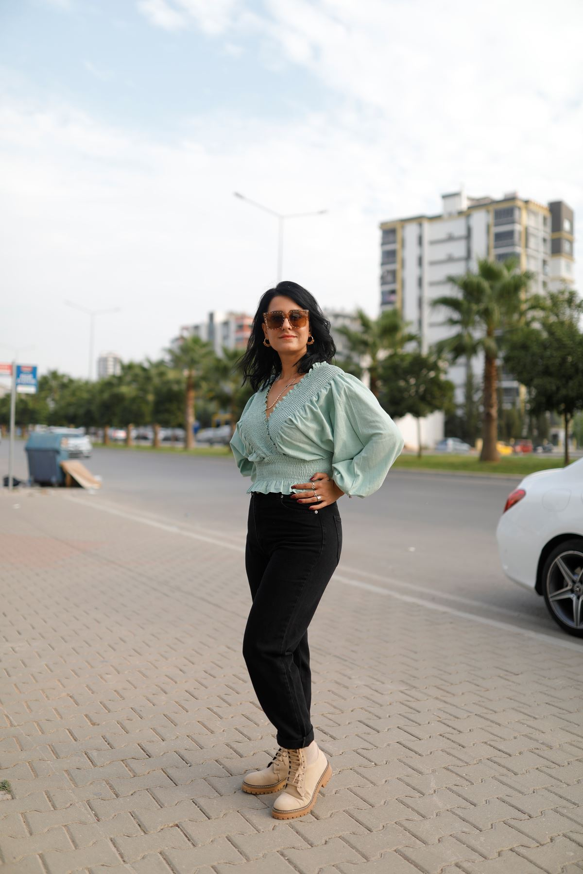 Yeşil Gipeli Yarasa Kol Bluz