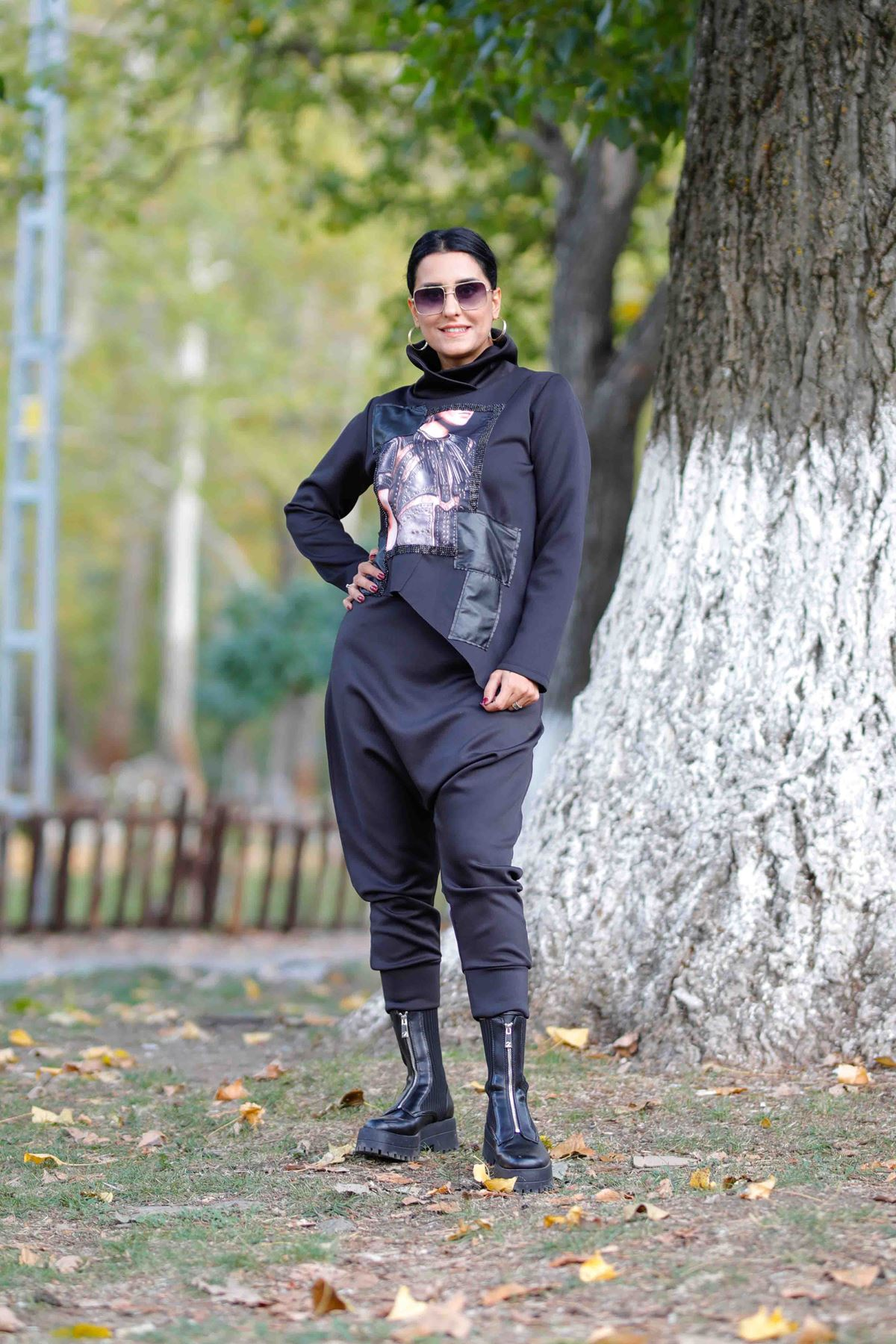 Tasarım Siyah Şalvar Pantolon