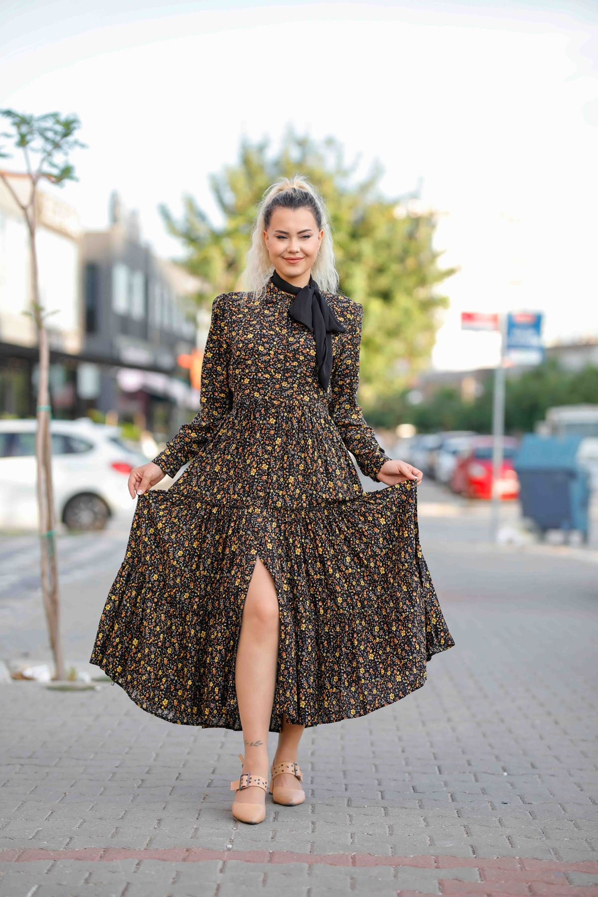 Siyah Çıtır Desenli Elbise