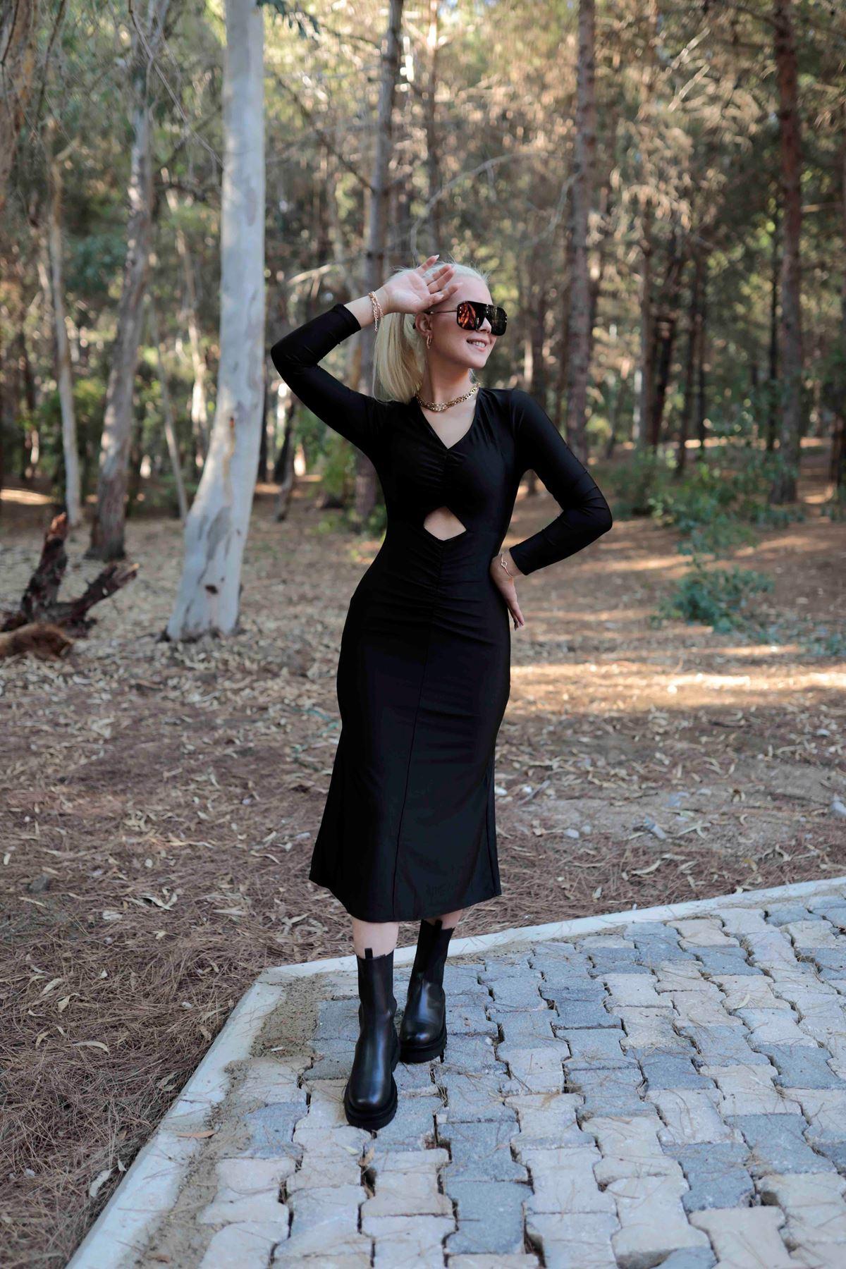 Midi Boy Karın Dekolteli Elbise