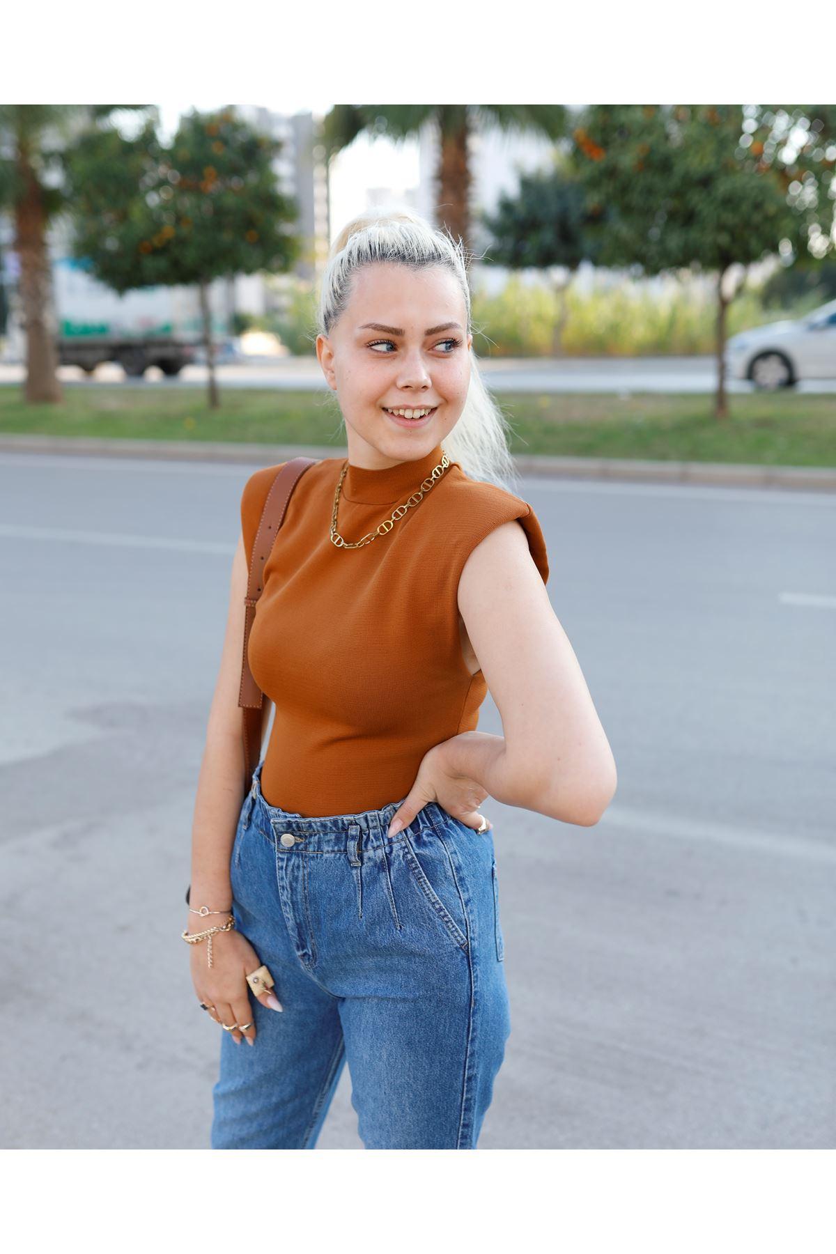 Önü Pensli Beli Lastikli Pantolon-Mavi