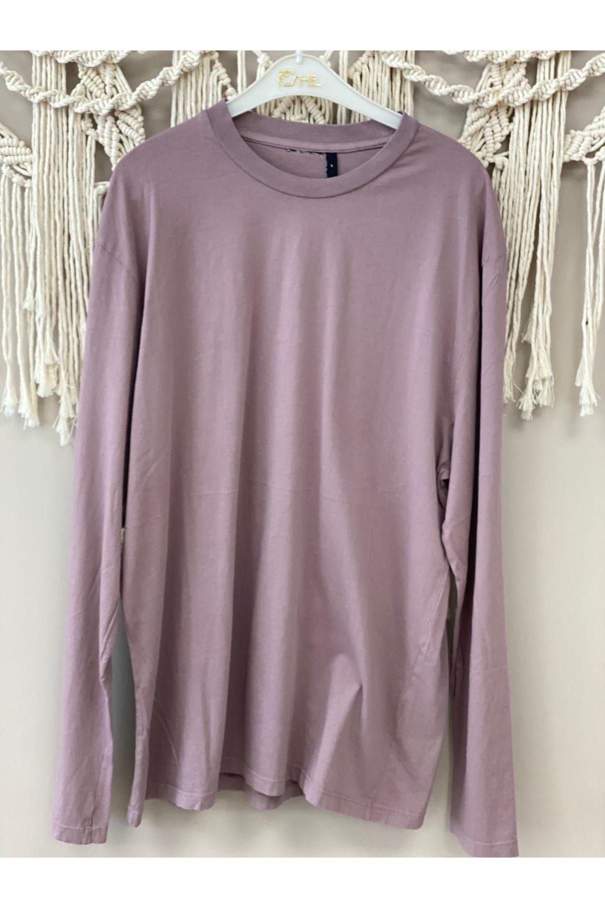 Kahverengi Uzun Kollu Basic Tshirt