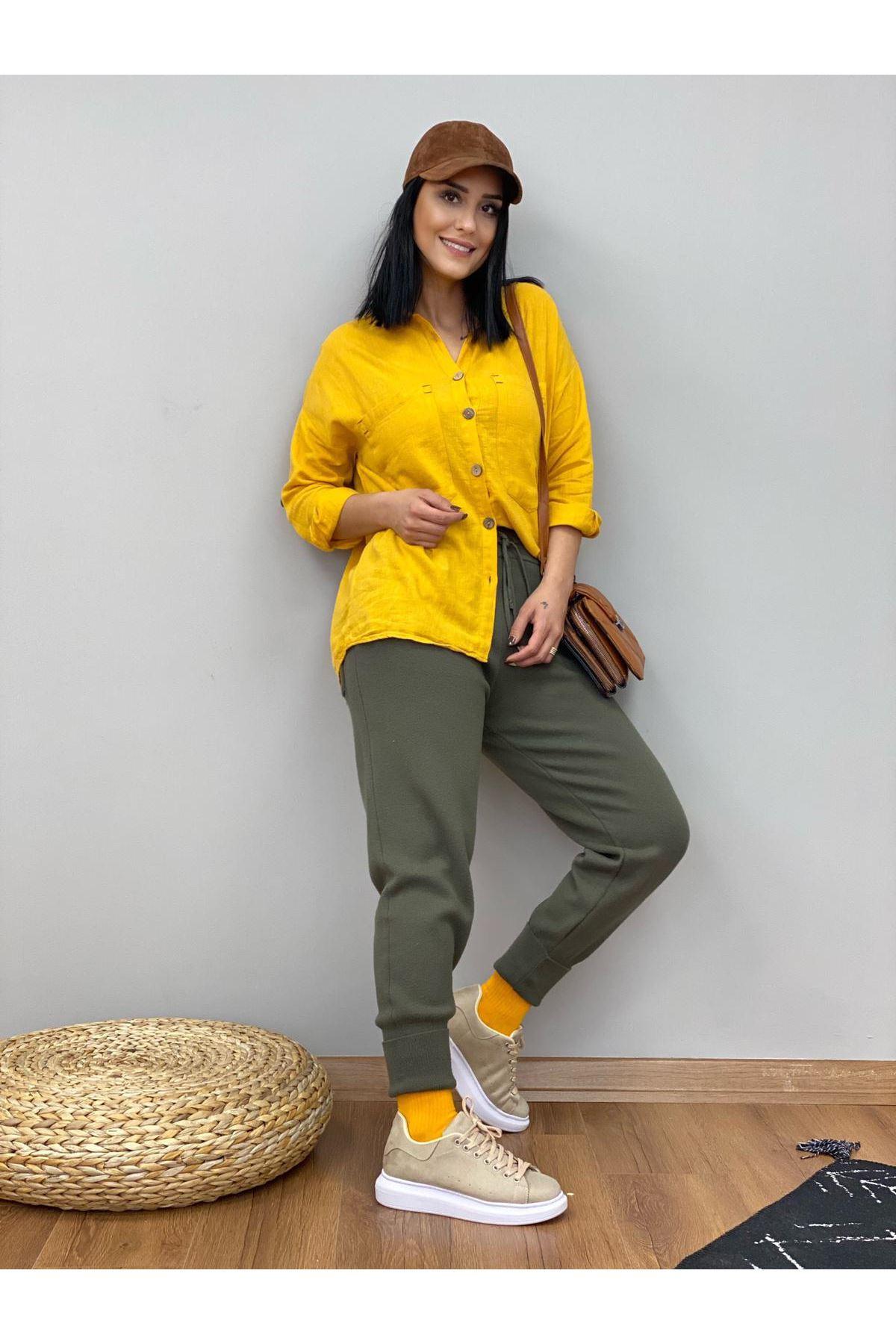 Sarı Ham Keten Gömlek