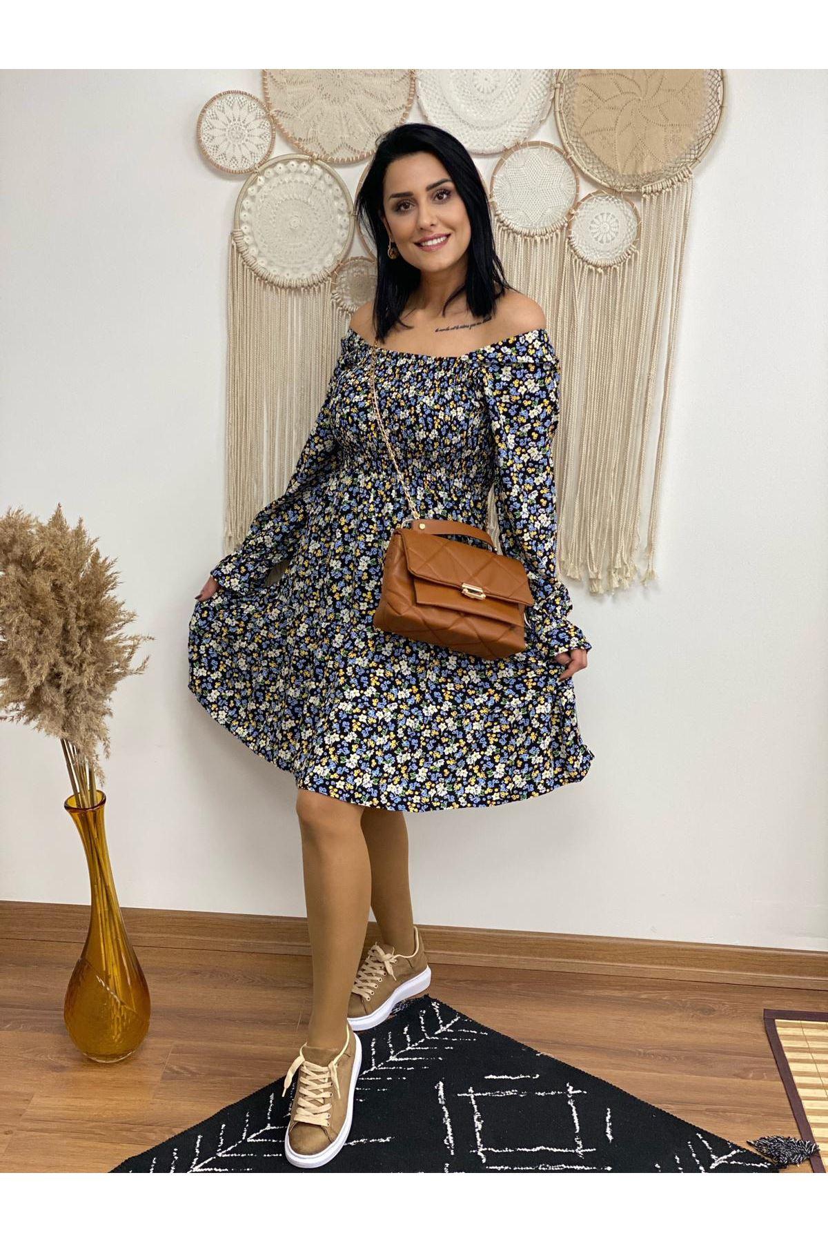 Viskon Kumaş Gipeli Çiçekli Elbise