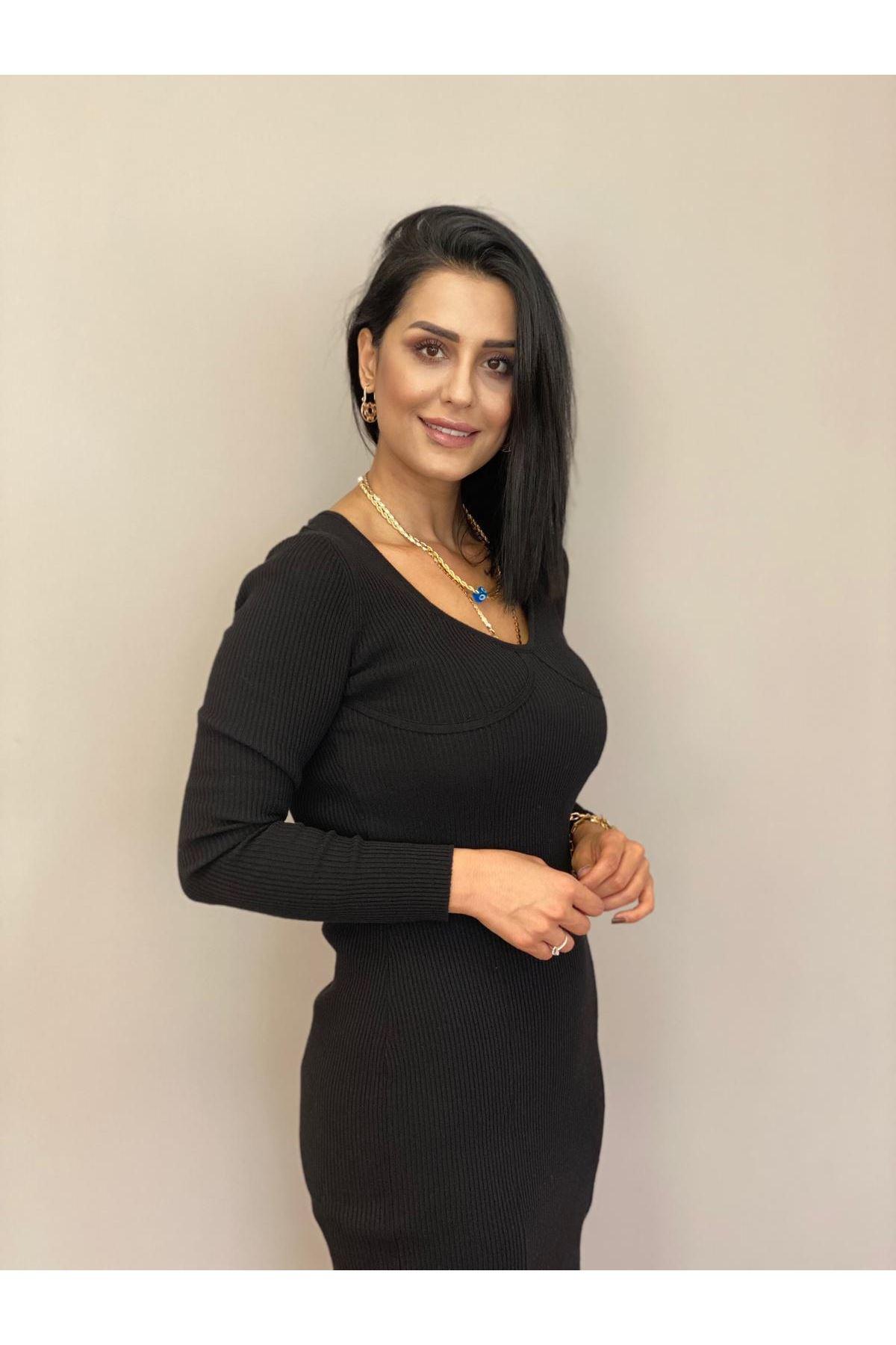 Siyah Kuplu Yırtmaçlı Elbise