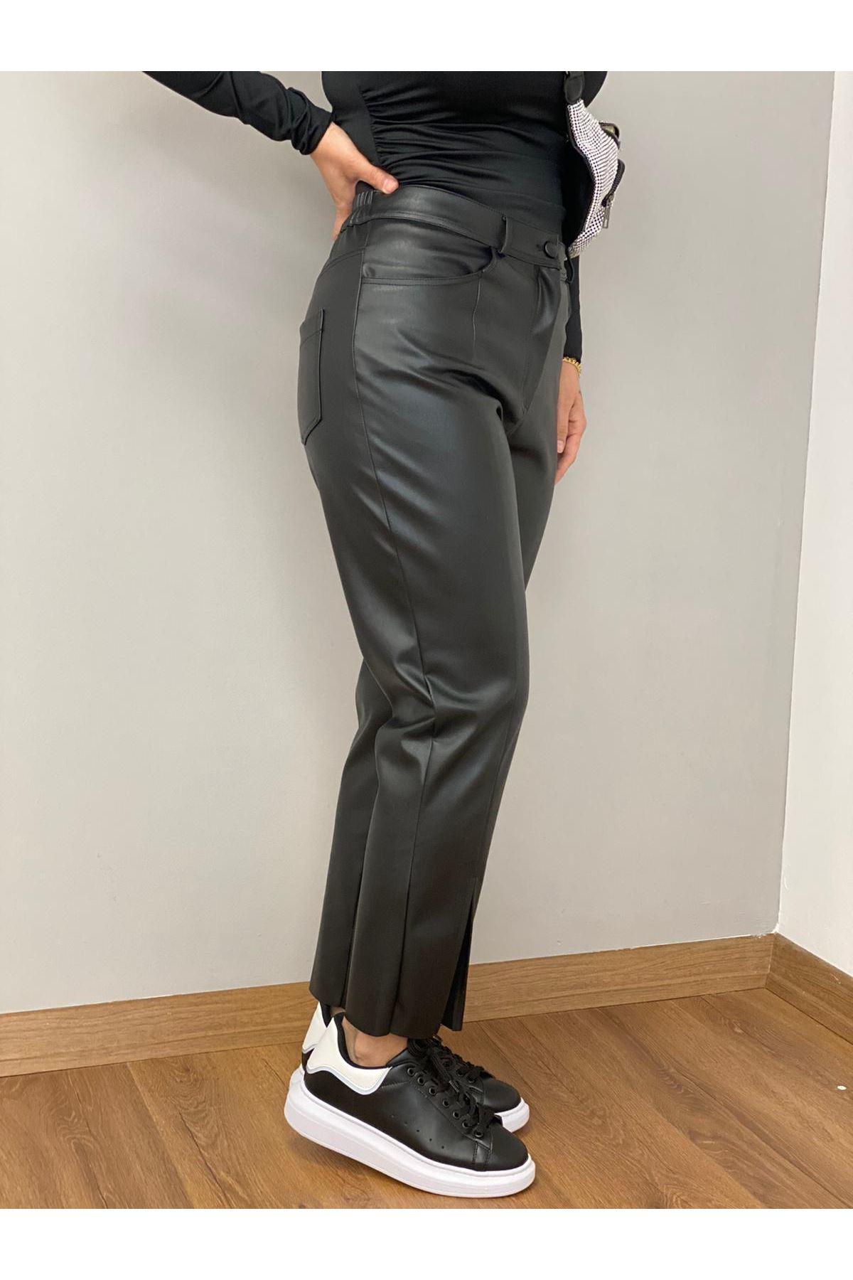 Siyah Yüksek Bel Deri Pantolon