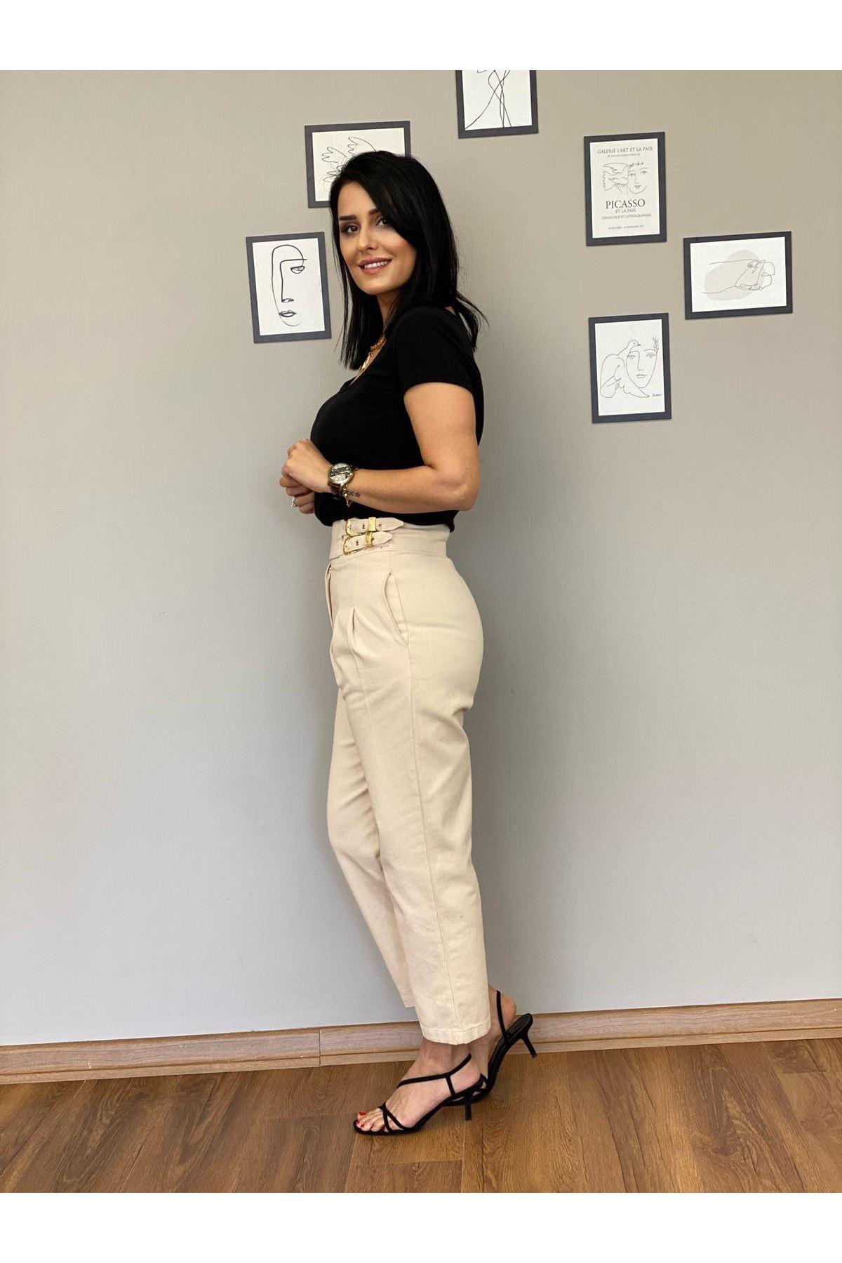 Bej Yüksek Bel Kemerli Pantolon