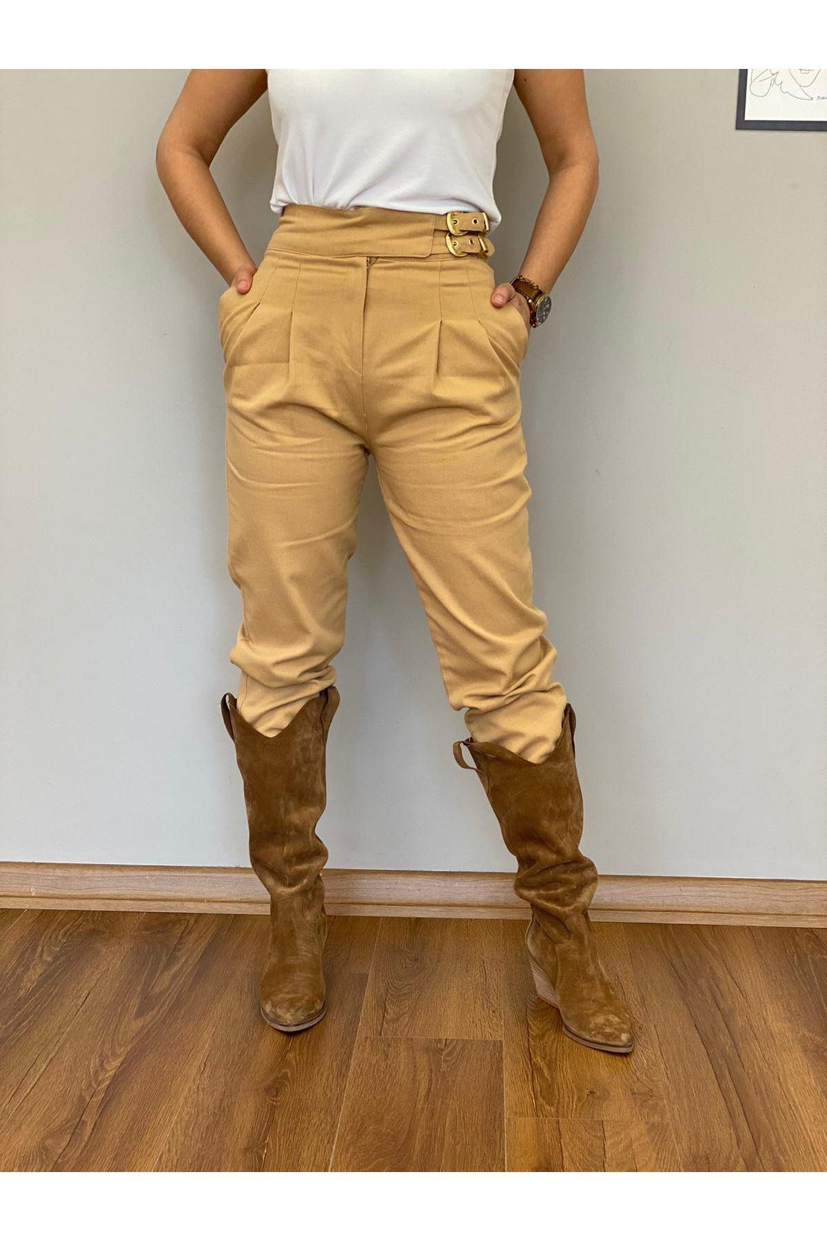 Camel Yüksek Bel Kemerli Pantolon