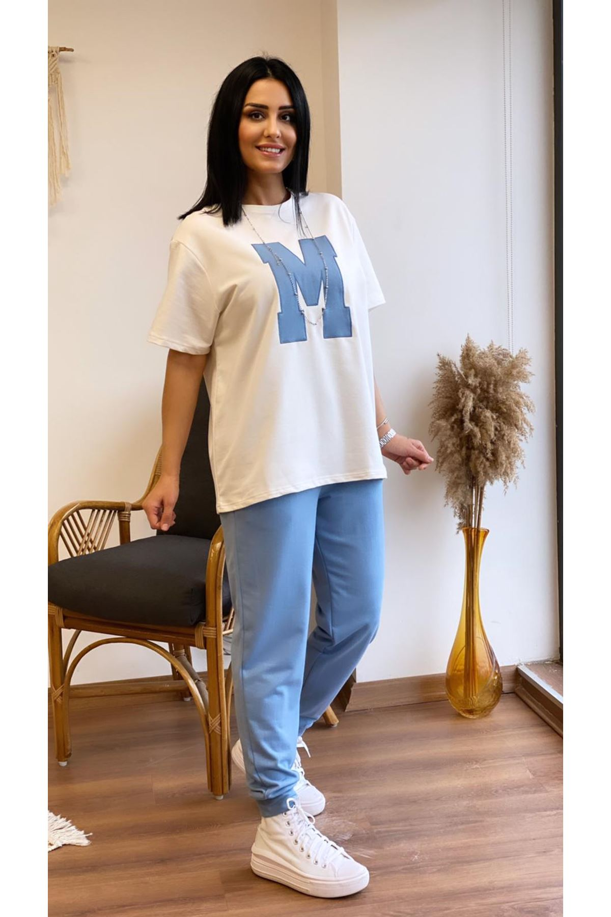 M Baskılı Eşofman Takımı Mavi