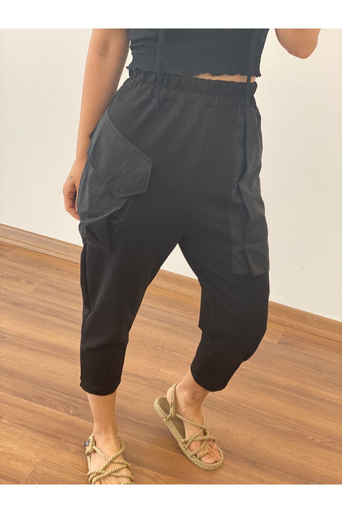 Siyah Cepli Şalvar Pantolon