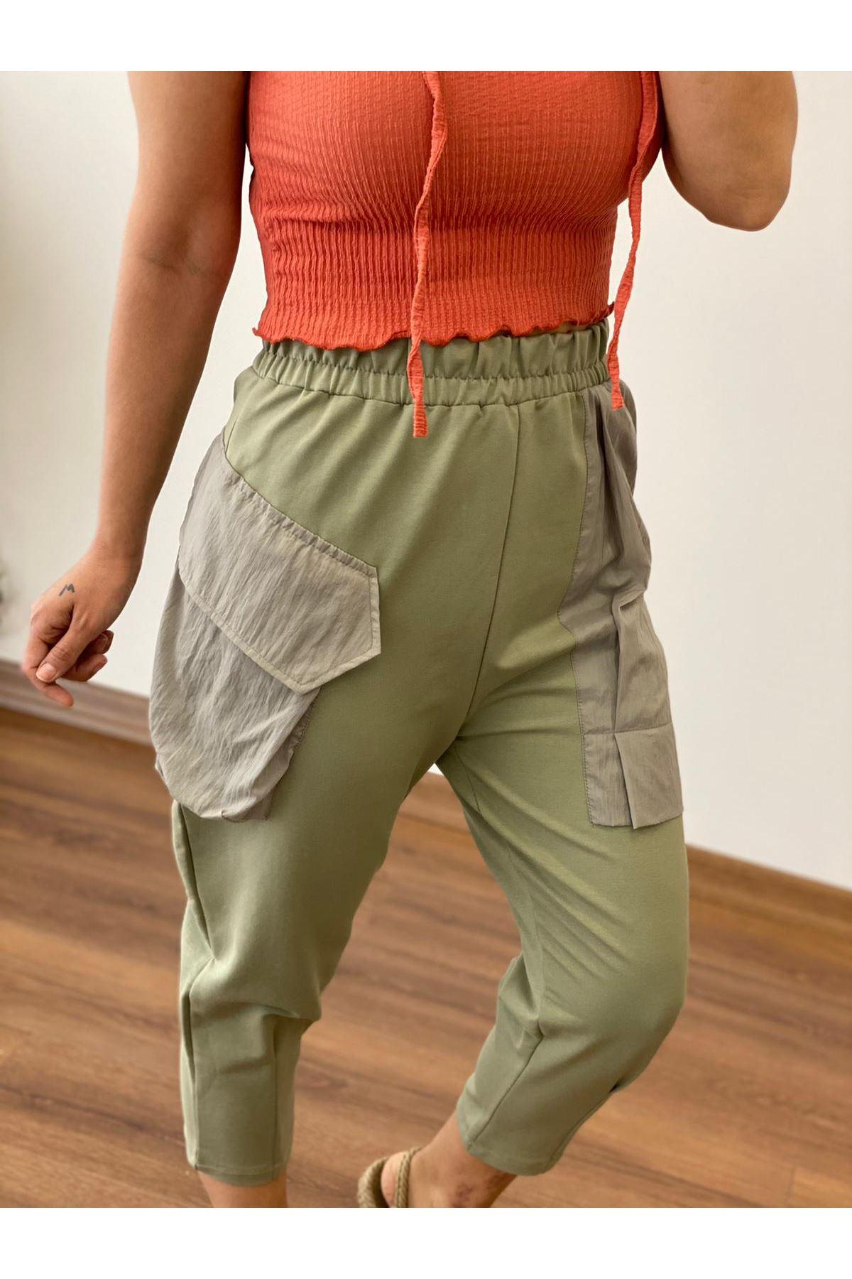 Haki Cepli Şalvar Pantolon