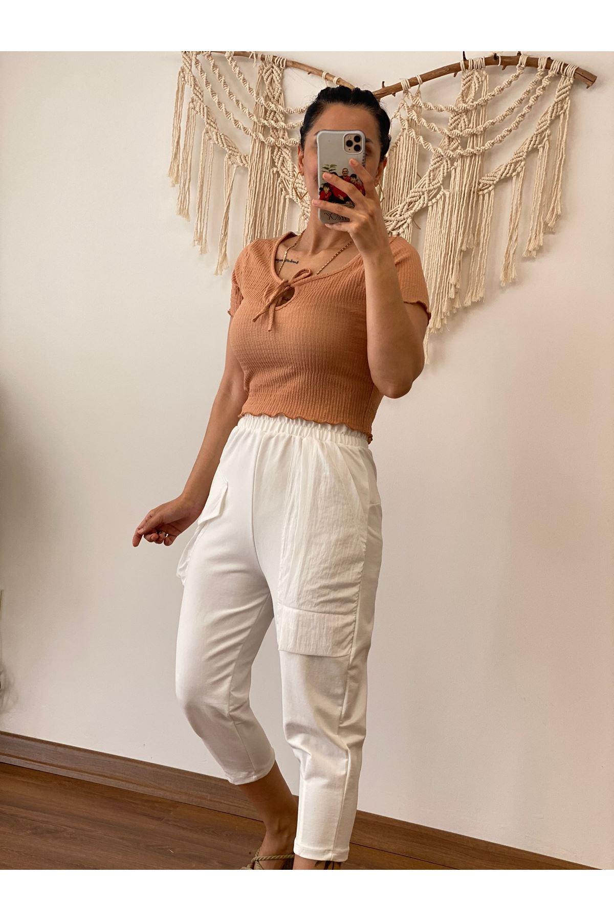 Beyaz Cepli Şalvar Pantolon