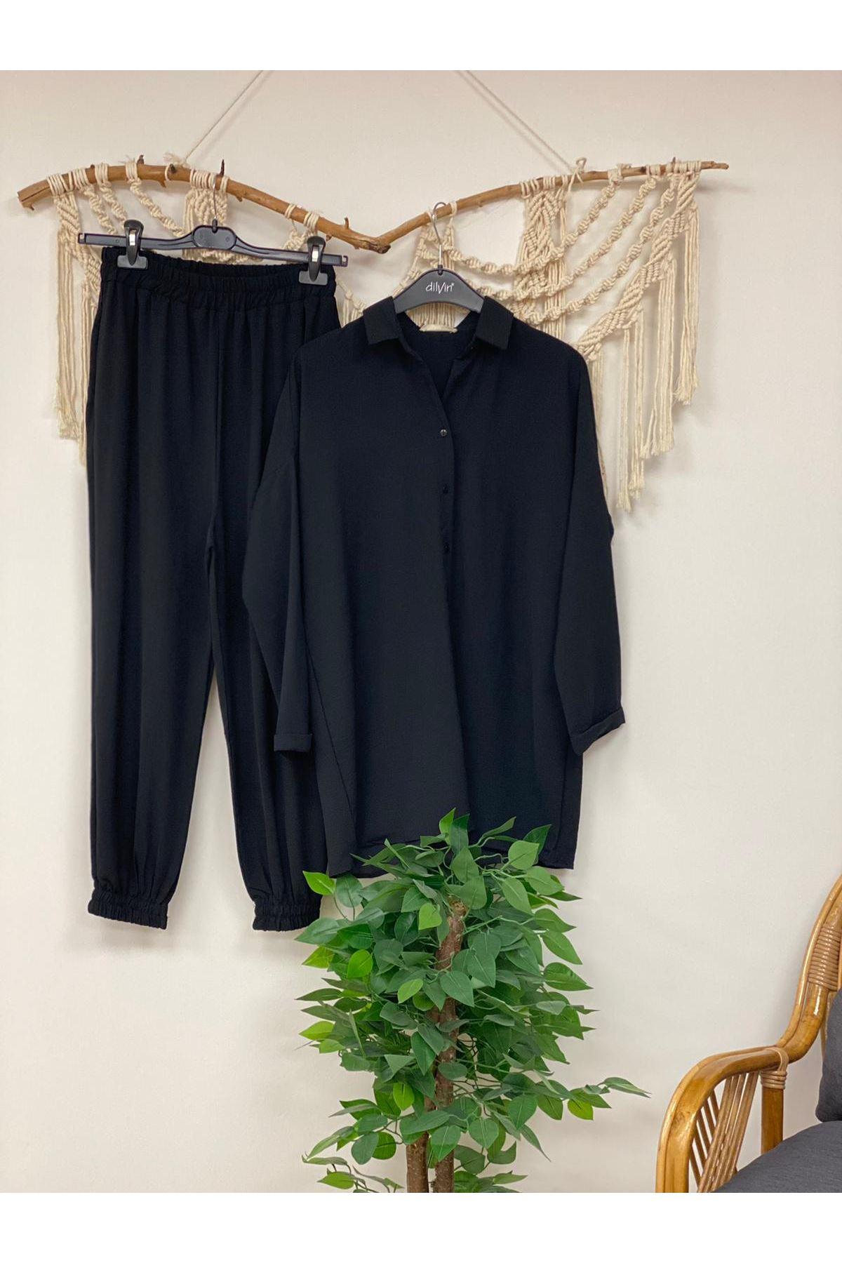 Siyah Krep Kumaş Takım