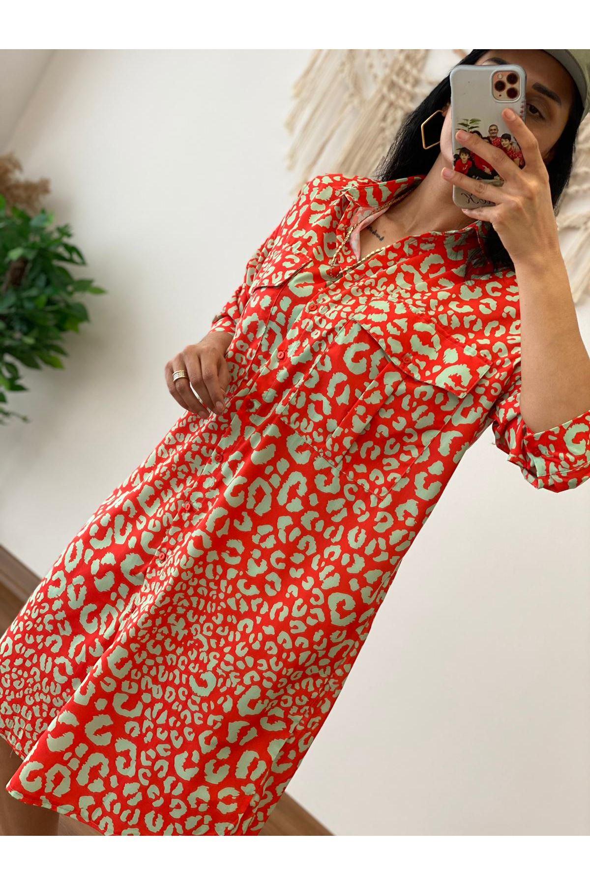Kırmızı Oversize GömleK Elbise