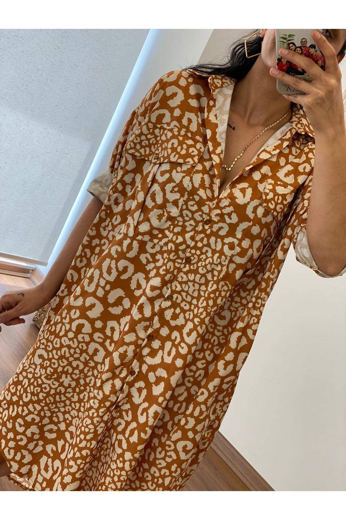 Kahverengi Oversize Gömlek Elbise