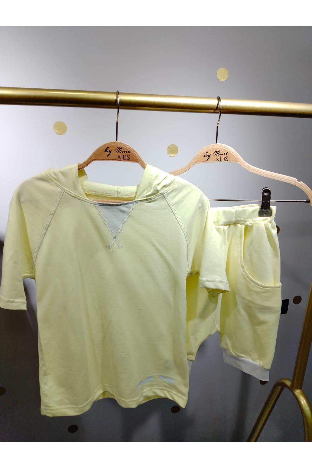 Sarı Pamuklu Şort Takım