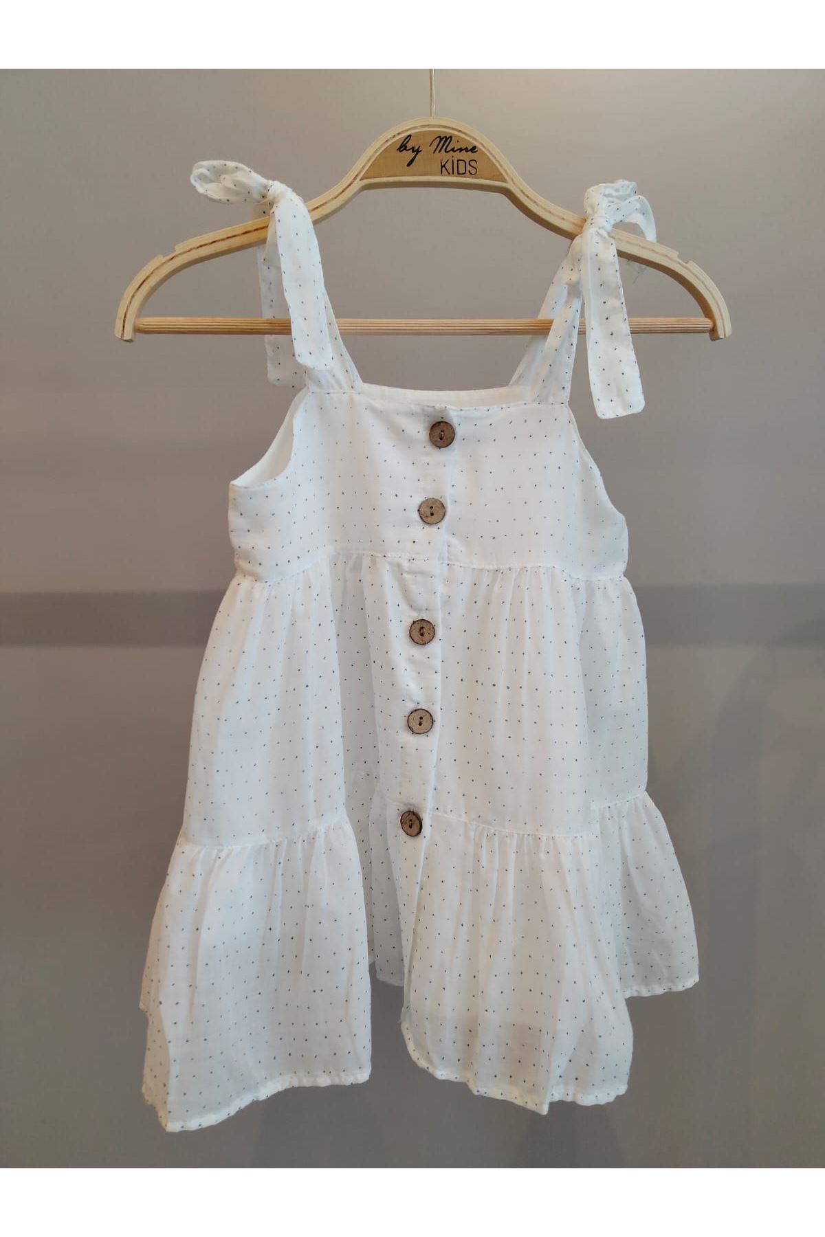Beyaz Puantiyeli Omuzları Bağlamalı Elbise