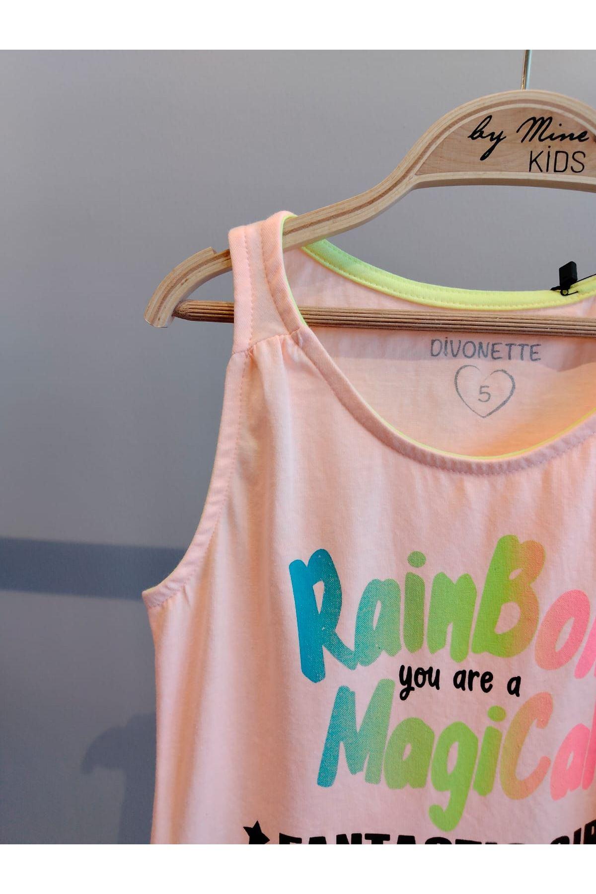 Rainbow Yazılı  Baskılı Elbise