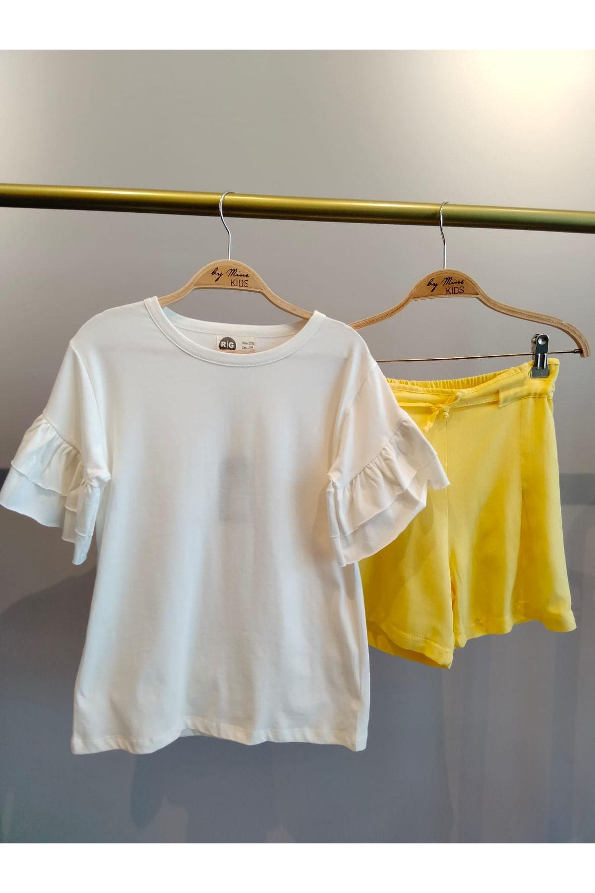 Kolları Fırfır Detaylı  Pamuklu T-shirt