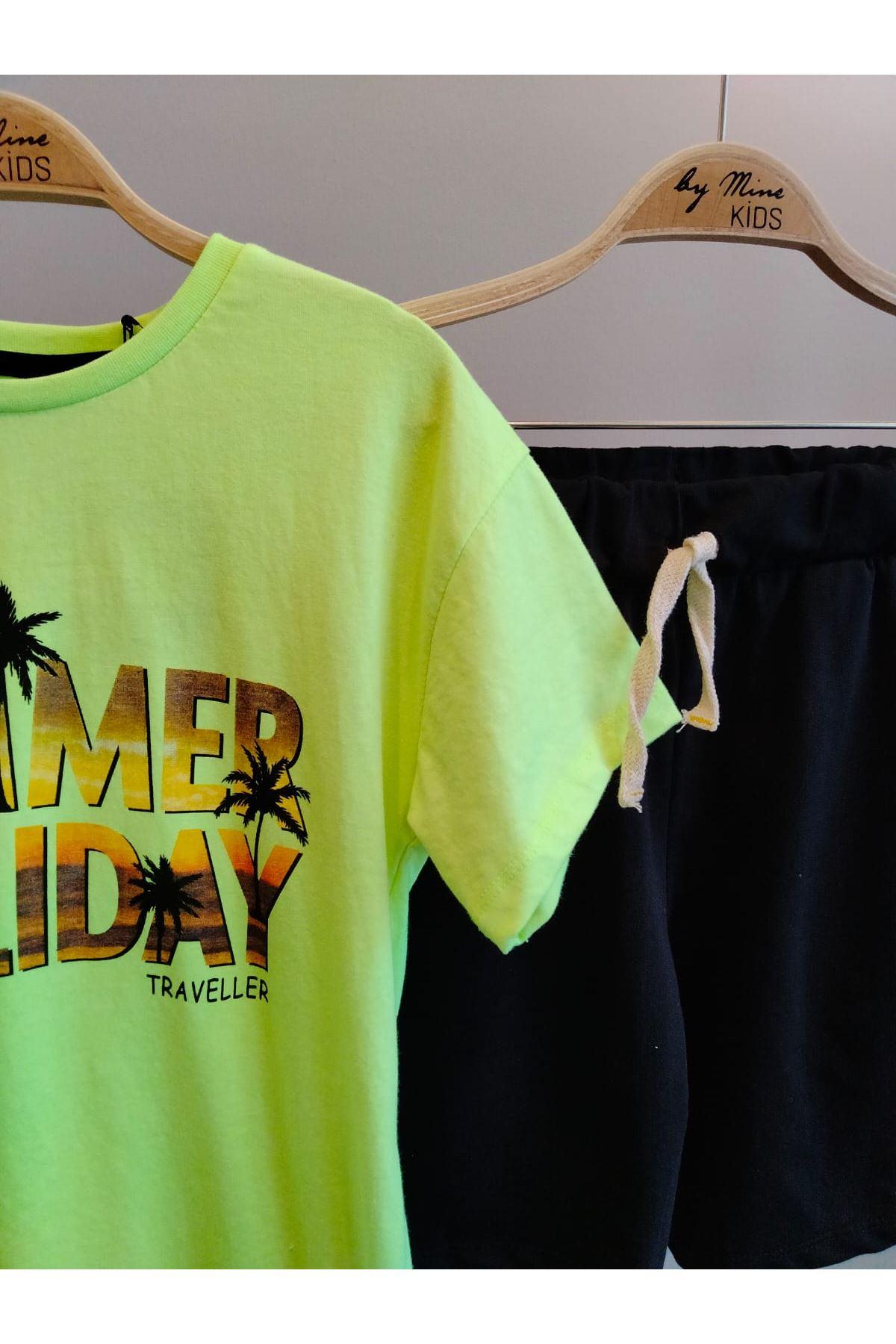 Neon Summer Pamuklu Kapri  Şort  Takım